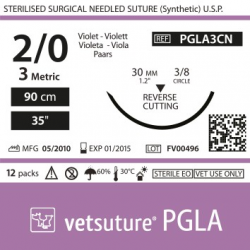 Vetsuture PGLA metric 3 (USP 2/0) 90cm - Aiguille courbe 3/8 30mm Reverse Cutting Point