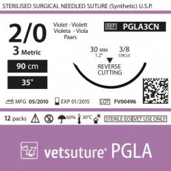 image: Vetsuture PGLA metric 3 (USP 2/0) 90cm   -  Aiguille courbe 3/8 30mm Reverse Cutting Point