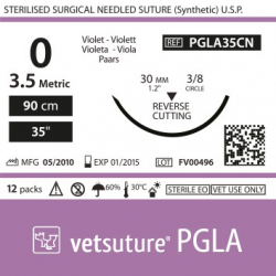 image: Vetsuture PGLA metric 3,5 (USP 0) 90cm   -  Curved needle 3/8 30mm Reverse Cutting Point