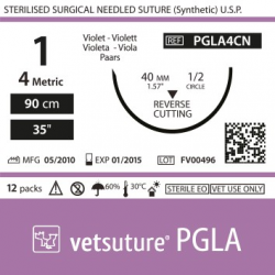 image: Vetsuture PGLA metric 4 (USP 1) 90cm   -  Curved needle 1/2 40mm Reverse Cutting Point