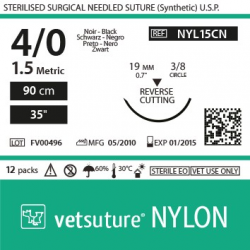 image: vetsuture NYLON metric 1,5 (USP 4/0) 90cm   -  Curved needle 3/8 19mm Reverse Cutting Point