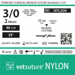 image: vetsuture NYLON metric 2 (USP 3/0) 90cm   -  needle  50mm Reverse Cutting Point