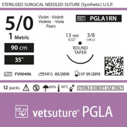 image: Vetsuture PGLA metric 1 (USP 5/0) 90cm   - Curved needle  3/8 13mm Round Taper Point