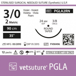 image: Vetsuture PGLA metric 2 (USP 3/0) 90cm   - Curved needle  3/8 24mm Round Taper Point