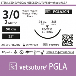 Vetsuture PGLA metric 2 (USP 3/0) 90cm - Aiguille courbe 3/8 24mm Reverse Cutting Point