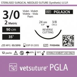 image: Vetsuture PGLA metric 2 (USP 3/0) 90cm   -  Aiguille courbe 3/8 24mm Reverse Cutting Point