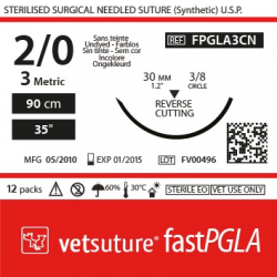 image: Vetsuture fastPGLA  metric 3 (USP 2/0) 90cm   -  Curved needle  3/8 30mm Reverse Cutting Point