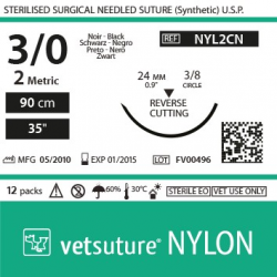 vetsuture NYLON metric 2 (USP 3/0) 90cm - Aiguille courbe 3/8 24mm Reverse Cutting Point
