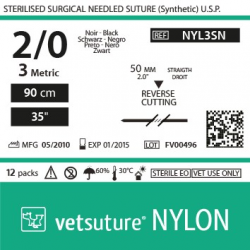 image: vetsuture NYLON metric 3 (USP 2/0) 90cm   -  needle  50mm Reverse Cutting Point