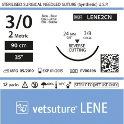image: Vetsuture LENE metric 2 (USP 3/0) 90cm   -  Curved needle 3/8 24mm Reverse Cutting Point
