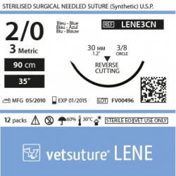 image: Vetsuture LENE metric 3 (USP 2/0) 90cm   -  Curved needle 3/8 30mm Reverse Cutting Point