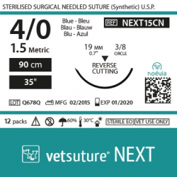 image: Vetsuture NEXT metric 1,5 (USP 4/0) 90cm   -  Curved needle  3/8 19mm Reverse Cutting Point