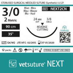 image: Vetsuture NEXT metric 2 (USP 3/0) 90cm   -  Curved needle  3/8 24mm Reverse Cutting Point