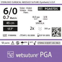"image: PGA met 0.7 - USP 6/0 - 45cm - 17.7"" - 2x Spatula 3/8 8.0mm (0.31"") 300µm"