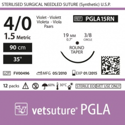 image: Vetsuture PGLA metric 1,5 (USP 4/0) 90cm   - Curved needle  3/8 19mm Round Taper Point