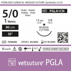 image: Vetsuture PGLA metric 1 (USP 5/0) 90cm   -  Curved needle 3/8 13mm Reverse Cutting Point