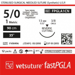 image: Vetsuture fastPGLA metric 1 (USP 5/0) 90cm   -  Curved needle  3/8 13mm Reverse Cutting Point