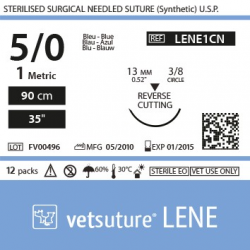image: Vetsuture LENE metric 1 (USP 5/0) 90cm   -  Curved needle3/8 13mm Reverse Cutting Point
