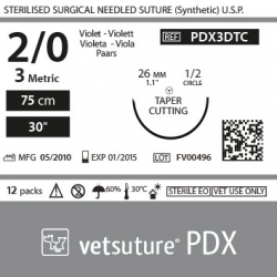 image: VetSuture PDX metric 3 USP 2/0 TapperCut 1/2 26mm