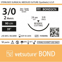 image: Vetsuture BOND metric  2 (USP 3/0)  90cm   - Curved needle  3/8 24mm Reverse Cutting Point
