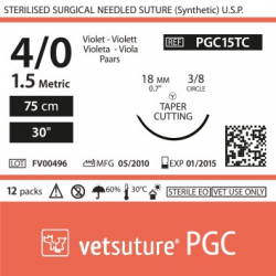 image: vetsuture PGC metric 1,5 (USP 4/0) 90cm violet -  Aiguille courbe 3/8 18mm Tapper Cutting Point