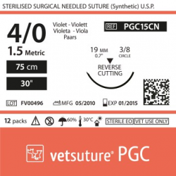 image: vetsuture PGC metric 1,5 (USP 4/0) 90cm violet   -  Aiguille courbe 3/8 19mm Reverse Cutting Point