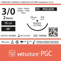 image: vetsuture PGC metric 2 (USP 3/0) 90cm violet   -  Curved needle  3/8 24mm Reverse Cutting Point