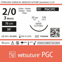 image: vetsuture PGC metric 3 (USP 2/0) 90cm violet   - Curved needle  3/8 20mm Tapper Cutting Point