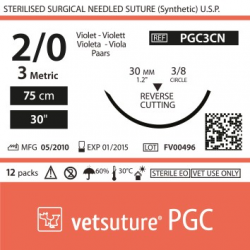 image: vetsuture PGC metric 3 (USP 2/0) 90cm violet   -  Aiguille courbe 3/8 30mm Reverse Cutting Point