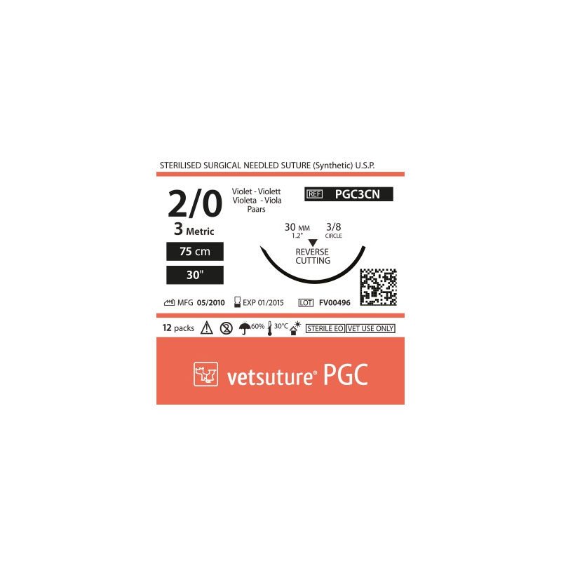 image: vetsuture PGC metric 3 (USP 2/0) 90cm violet  - Curved needle  3/8 30mm Reverse Cutting Point