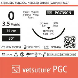 image: vetsuture PGC metric 3,5 (USP 0) 90cm violet   -  Curved needle 3/8 30mm Reverse Cutting Point