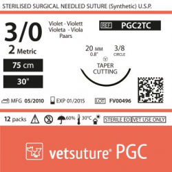 image: vetsuture PGC metric 2 (USP 3/0) 90cm violet  -   Curved needle  3/8 20mm Tapper Cutting Point