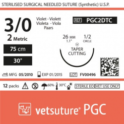 image: vetsuture PGC metric 2 (USP 3/0) 75cm violet   - Curved needle  1/2 26mm Tapper Cutting Point