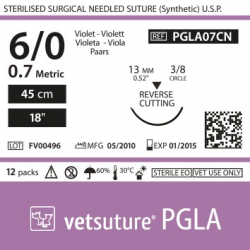 image: Vetsuture PGLA metric 0.7 (USP 6/0) 45cm -  Aiguille courbe 3/8 13mm Reverse Cutting Point