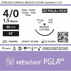 image: Vetsuture PGLA+ antibacterial metric 1.5 (USP 4/0) 90cm   -  Curved needle  3/8 19mm Reverse Cutting Point