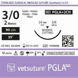 image: Vetsuture PGLA+ antibacterial metric 2 (USP 3/0) 90cm   -  Curved needle 3/8 24mm Reverse Cutting Point