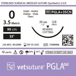 image: Vetsuture PGLA+ antibacterial metric 3,5 (USP 0) 90cm   -  Curved needle 3/8 30mm Reverse Cutting Point