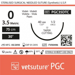 image: vetsuture PGC metric 3.5 (USP 0) 75cm violet   - Curved needle  1/2 40mm Tapper Cutting Point