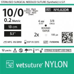 "image: NYLON met 0.2 - USP 10/0 - 13cm - 5"" - 2x Taper point 3/8 4.0mm (0.15"") 100µm"