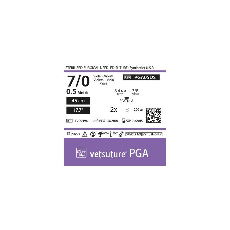 "image: PGA met 0.5 - USP 7/0 - 45cm - 17.7"" - 2x Spatula 3/8 6.4mm (0.25"") 200µm"