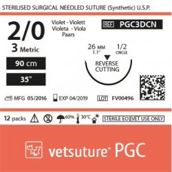 image: vetsuture PGC metric 3 (USP 2/0) 90cm violet   -  Aiguille courbe 1/2 26mm Reverse Cutting Point