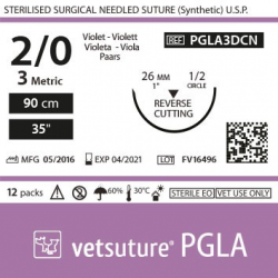 image: Vetsuture PGLA metric 3 (USP 2/0) 90cm   -  Curved needle  1/2 26mm  Reverse Cutting Point