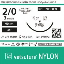 vetsuture NYLON metric 3 (USP 2/0) 90cm - Aiguille courbe 3/8 30mm Reverse Cutting Point