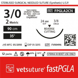 image: Vetsuture fastPGLA  metric 2 (USP 3/0) 90cm   -  Curved needle  3/8 24mm Reverse Cutting Point