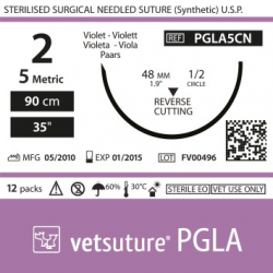image: Vetsuture PGLA metric 5 (USP 2) 90cm   -  Curved needle 1/2 48mm Reverse Cutting Point
